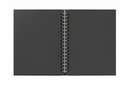Blank black facing pages of notebook on a spring with leather cover. Mock up isolated on white background include clipping path on the edge of the notebook. 3d render