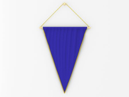 hang up: Blue  pennant (pennon or pendant) hanging on a white wall. Include clipping path. 3d illustration