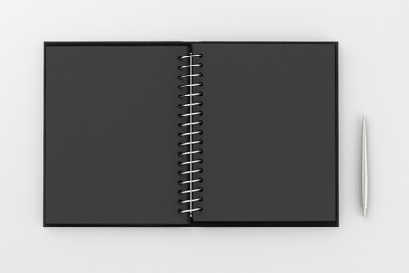Blank black facing pages of notebook on a spring with leather cover and ballpoint pen. Mock up isolated on white background include clipping path on the edge of the notebook and pen. 3d render