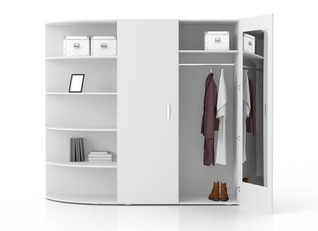 Ffnen Sie weiße Garderobe mit Buchgestellen und -spiegel, die auf weißem Hintergrund getrennt werden. Beschneidungspfad einschließen. 3d übertragen Standard-Bild - 79135127