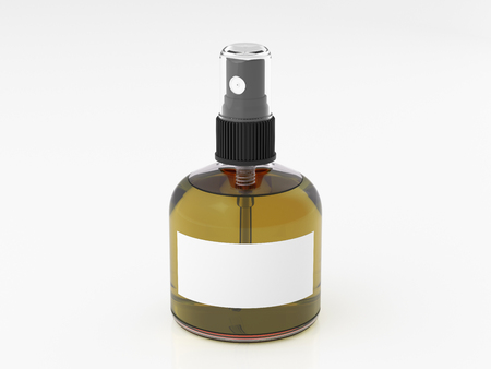 Perfume spray bottle with olive liquid isolated on white background. 3d render mockup