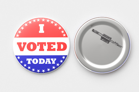voted: I Voted Today pin badge brooch isolated. Include clipping path. 3d render