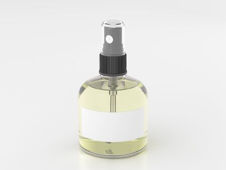 Perfume spray bottle with yellow liquid isolated on white background. 3d render mockup