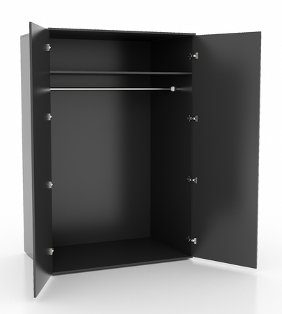 Empty open black wardrobe isolated on white background. Include clipping path. 3d render
