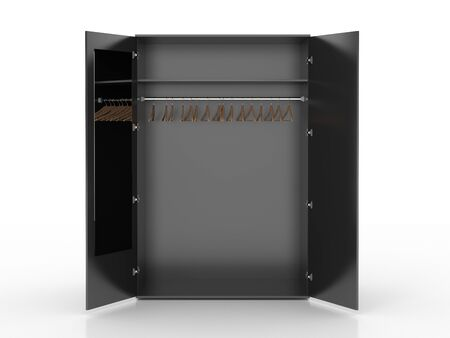 Empty black wardrobe and hangers isolated on white background. Include clipping path. 3d render