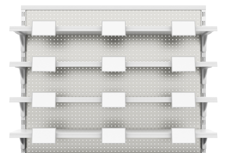 Empty supermarket shelves with labels isolated on white background. Include clipping path. 3d render