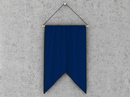 hang up: Blue  pennant (pennon or pendant) hanging on a concrete wall. Include clipping path. 3d illustration