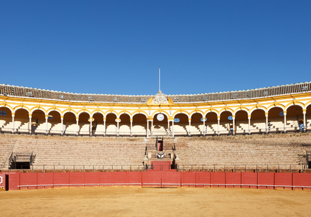 Plaza de los toros at Seville, Spain. View from arena