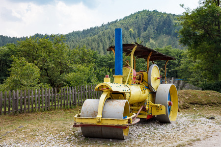 traction engine: Antique steam roller in Serbia, Mokra Gora, Serbia Stock Photo