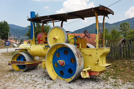 Antique steam roller in Serbia, Mokra Gora, Serbia Stock Photo