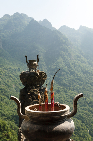 The traditional bowl-incense burner in monasteries of Wudang Mountains