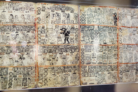 Fragment of Maya book - the Madrid Codex (also known as the Tro-Cortesianus Codex or the Troano Codex). Spain Stock fotó