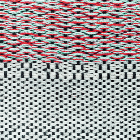 Red hand weaving matting tweed fabric texture. Closeup square fragment