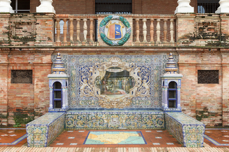 moorish clothing: Symbol of Teruel. Coat of arms, map and decorative panels on Plaza de Espana (Spain Square) in Seville, Andalusia, Spain.