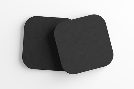 Black coasters. Isolated on white background. Include clipping path. 3d render