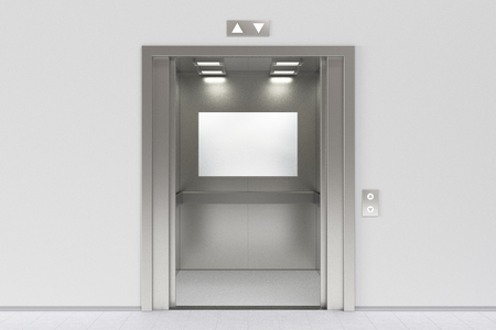 Blank billboard or poster inside of empty elevator cabin. Include clipping path around billboard ad space. 3d render Stockfoto