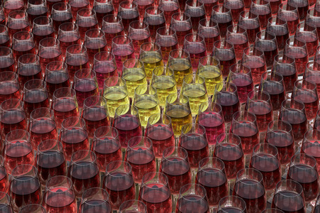 roze: Tasting wine with palette of red, roze and white wines in glasses on the wooden table. Glasses of white wine surrounded by glasses of red and pink wine. 3d render Stock Photo