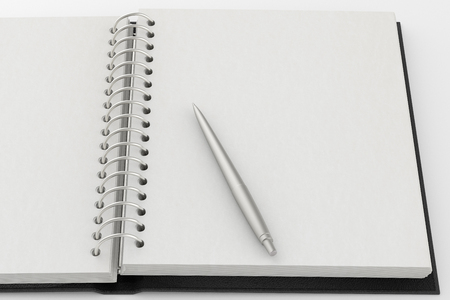 black leather texture: Open blank notepad with a pen. Isolated on white background. Include clipping path. 3d render Stock Photo