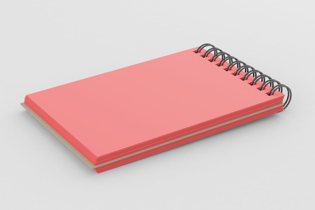 Red spiral notepad isolated on white background. Include clipping path of the border of notepad. 3d render