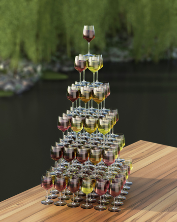 roze: Tasting wine pyramid of red, roze and white wines in glasses on the wooden table. 3d render