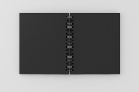 Black spiral notepad isolated on white background. Include clipping path of the border of notepad. 3d render