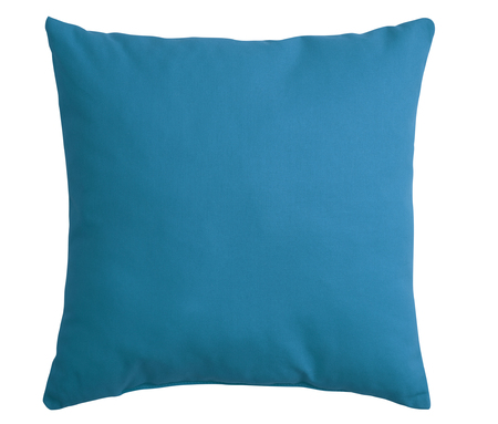 Cyan pillow isolated on white background. Stock Photo