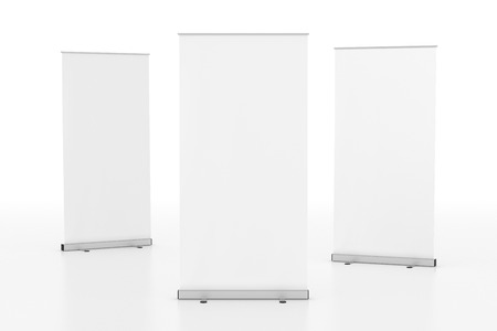 Blank white roll-up banner stand isolated on white background. 3d render