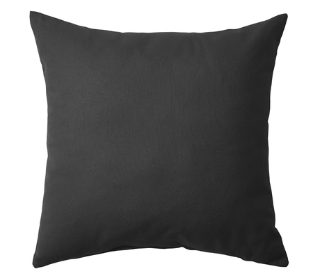 Black pillow isolated on white background. Stock Photo