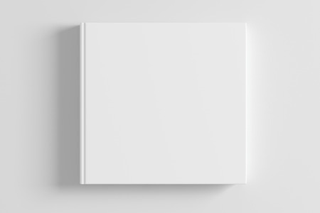 Blank white book cover on white background. 3d render