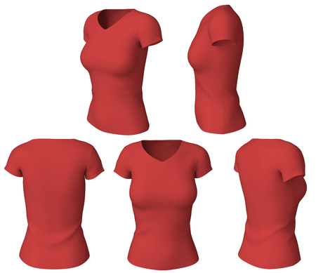 clothe: Set of woman red t-shirts design template isolated on white background. 3d render Stock Photo