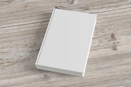 Lege witte boekomslag op houten achtergrond. 3d render