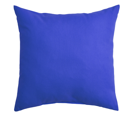 Blue pillow isolated on white background.