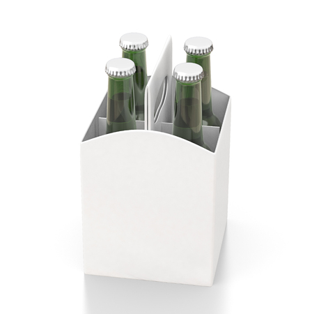 Four bottles white blank beer packaging with green bottles isolated on white background. Include clipping path. 3d render Stock Photo