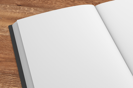 Closeup of an open book with a black cover and blank pages isolated on a wooden background. Include clipping path. 3d render