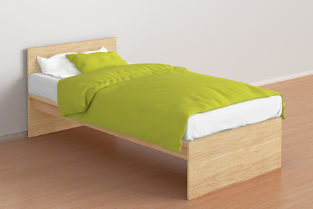 bedstead: Wooden twin size single bed with yellow linen in interior. 3d render