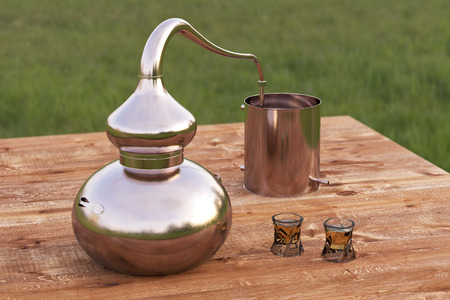 Vintage copper home distilling still pot or alembic with two glasses of whiskey on wooden table. 3d render