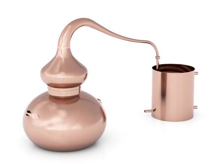 Uitstekend koperhuis dat nog die pot of alembic destilleert op witte achtergrond wordt geïsoleerd. 3d render