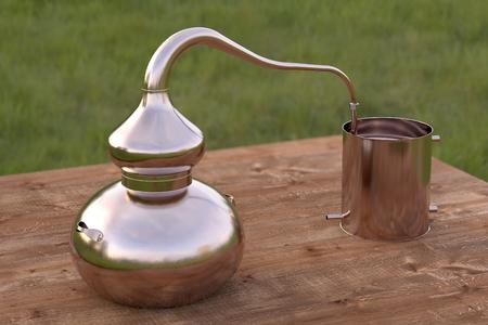 destilacion: Vintage de cobre de destilación todavía olla o alambique en la mesa de madera. Procesamiento 3d