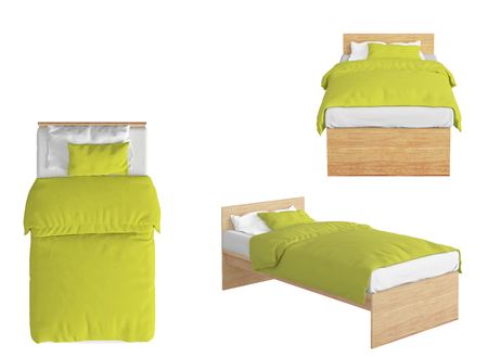 bedstead: Wooden twin size single bed with yellow linen isolated on white background. 3d render