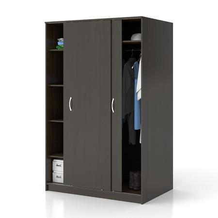Dunkelbraune hölzerne Garderobe mit den Schiebetüren getrennt auf weißem Hintergrund. Beschneidungspfad einschließen. 3d übertragen Standard-Bild - 79274614
