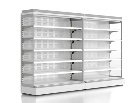 Pair of empty supermarket refrigerator showcase. Isolated on white background include clipping path. 3d render