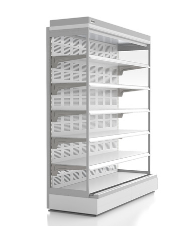 store shelf: Empty supermarket refrigerator showcase. Isolated on white background. 3d render