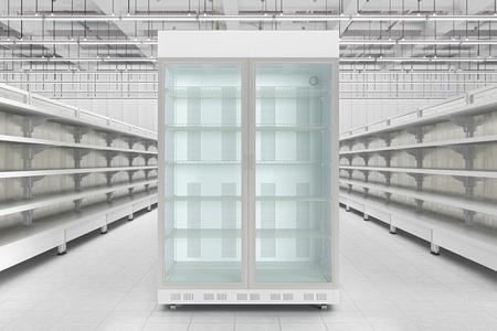 Store interior with empty refrigerator display. 3d render Standard-Bild