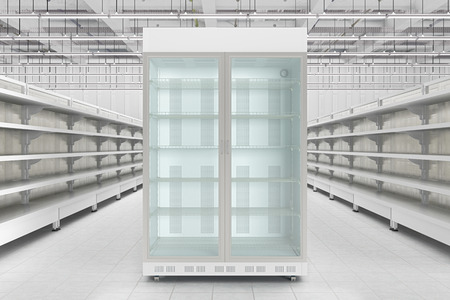Store interior with empty refrigerator display. 3d render Reklamní fotografie
