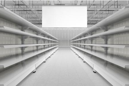 빈 슈퍼마켓 진열대와 빈 광고 행거 배너가있는 내부 통로를 보관하십시오. 3 차원 렌더링