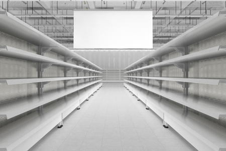 Store interior aisle with empty supermarket shelves and blank advertising hanger banners. 3d render