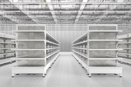 Store Interior With Empty Supermarket Shelves  3d Render Stock Photo