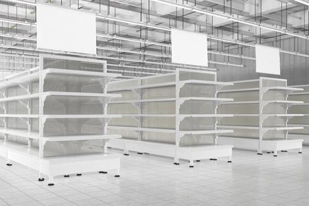空のスーパー マーケットの棚とハンガーの空白の広告バナーの店内。3 d のレンダリング