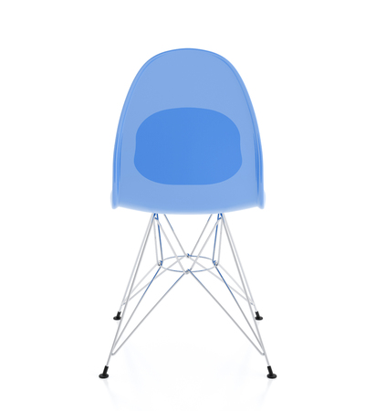Modern design blue plastic chair isolated on white background. Include clipping path. 3d render Stock Photo