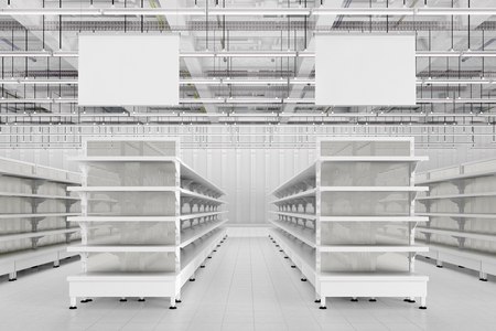 Store interior with empty supermarket shelves and blank advertising hanger banners. 3d render